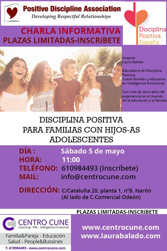 DISCIPLINA POSITIVA ADOLESCENTES, narón, Ferrol, A Coruña, Laura Balado, Coaching Familiar, educación, familia, mayo, 2018, preadolescencia, adolescencia, pubertad