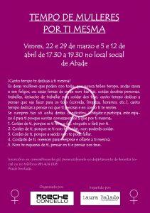 Moeche, A Coruña. Tempo de mulleres, por ti mesma. @ Local Social de Abade | Oleiros | Galicia | España